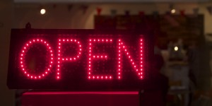 OPEN sign outside the Peter Scott Gallery