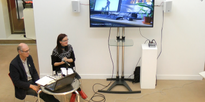 Charles Quick and Elaine Speight presenting at OPEN 2015 at the Peter Scott Gallery, Lancaster University.