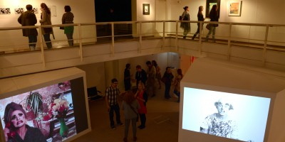Launch of Mel Broomfield's exhibition at the Peter Scott Gallery at Lancaster University. October 2014.