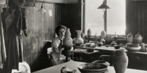 Gladys Rogers decorating a lustre pot