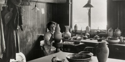 Gladys Rogers decorating a lustre pot