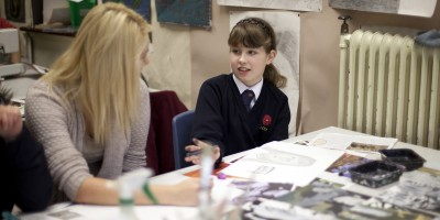 Pupils from Lancaster Girls Grammer School taking part in Conversations with the Collection