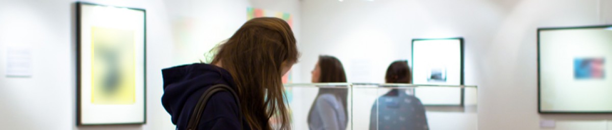 A photo showing an art exhibition within the Peter Scott Gallery, Lancaster.