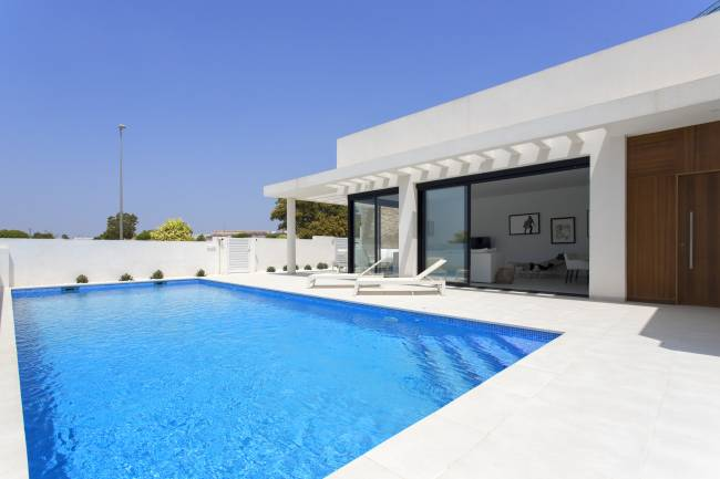 Modern luxury villa with heated pool