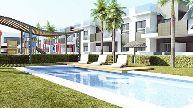 Modern apartments with 2 communal pools and childrens play area