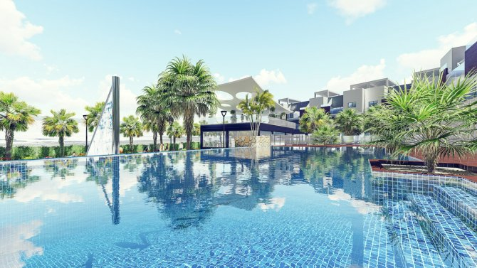 Modern middle and top floor apartments with large communal pool in El Raso
