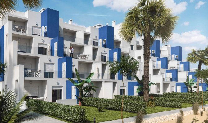 Front line golf apartments with communal pool