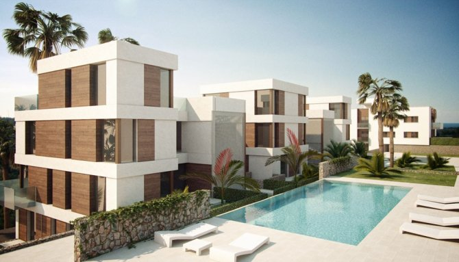 Luxury apartments with communal pool on the prestigious golf course of Las Ramblas with stunning views of the sea.