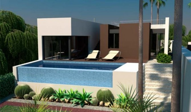 Frontline golf contemporary style 4 bed/3 bath detached villas with private pool,