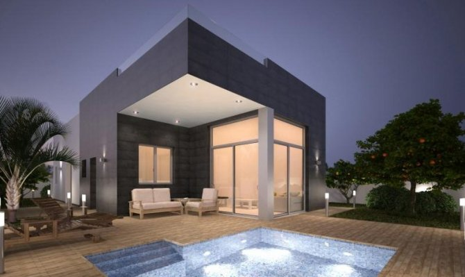 High quality detached villas with private pool 1200m from the beach.