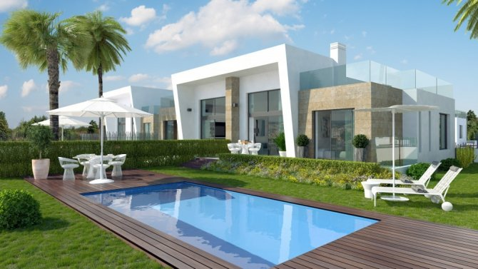 Modern style semi-detached townhouses with communal pool and solarium with spectacular sea views
