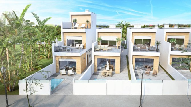 Spacious villas with private pools and white goods included