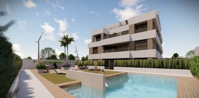 Spacious properties with communal pool 800m to the beach.