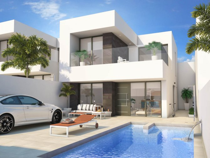 Semi-detached properties with option of private pool and solarium