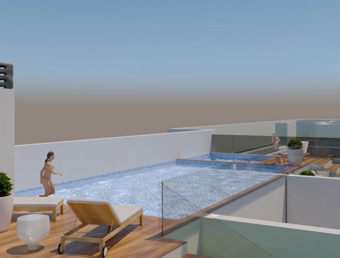 Modern properties 150m from the beach with roof top pool