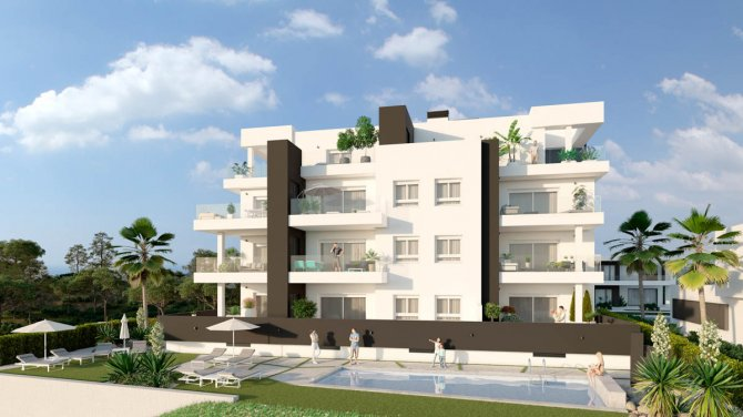 Apartment block with community gardens and pool close to golf course