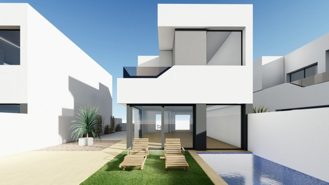 Spacious modern villas with private pool and underbuild