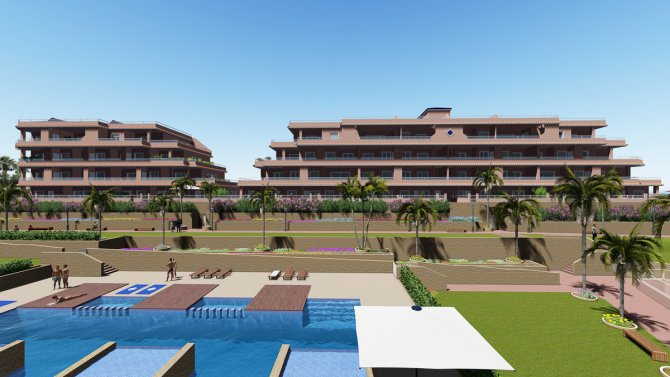 Luxury development of apartments with 2 communal pools, SPA, JACUZZI and GYM