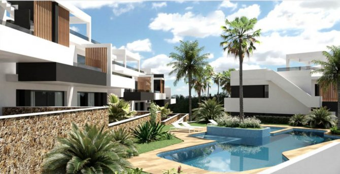 Stylish modern apartment complex with communal pool and underground parking