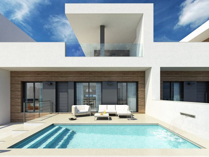 Stylish contemporary villas with pool and white goods included