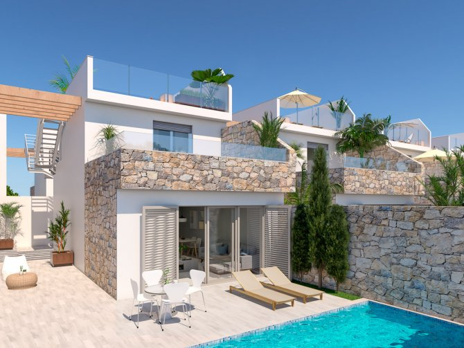 Modern spacious villas with white goods, private pool walkable to the beach