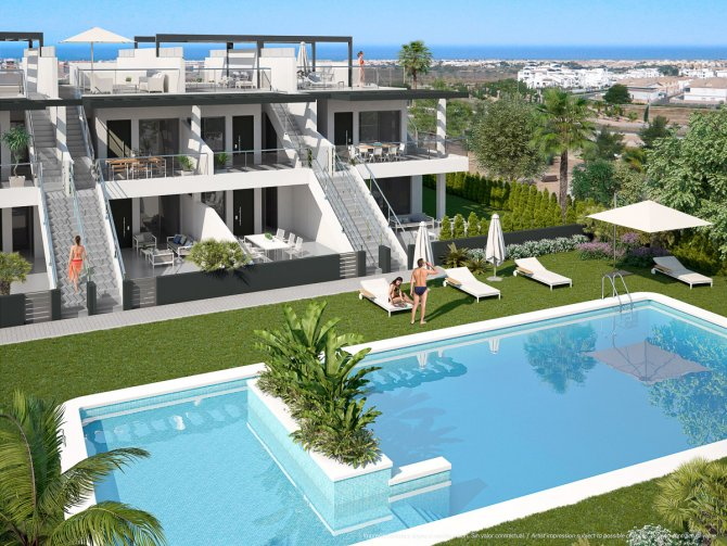 Modern stylish apartments overlooking the communal pool and gardens