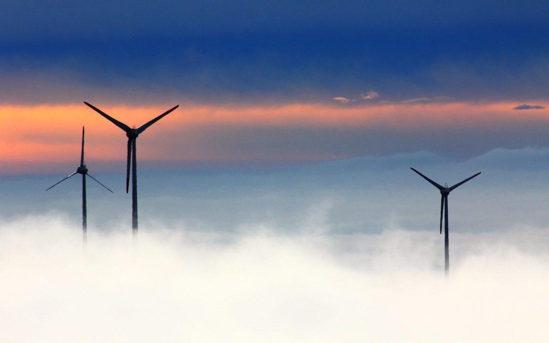 wind turbines in fog
