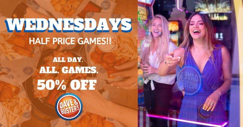 Half Price Games on Wednesdays