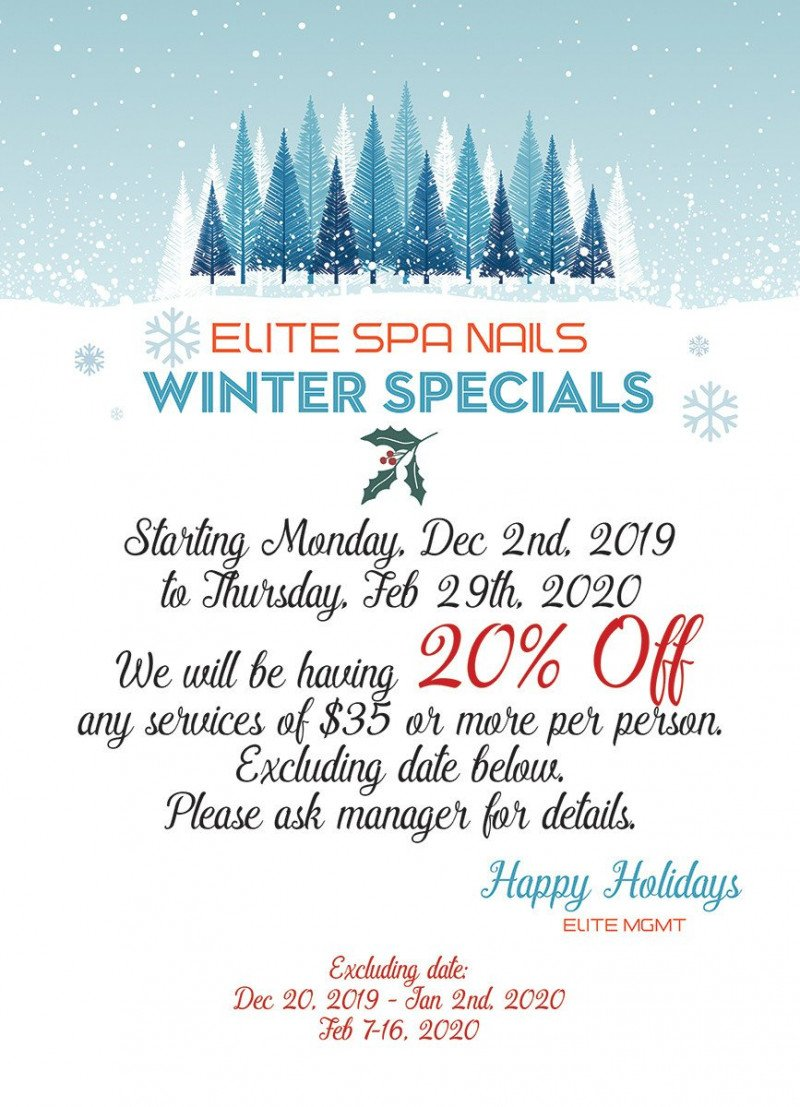 20% off any service of $35 or more at Elite Spa