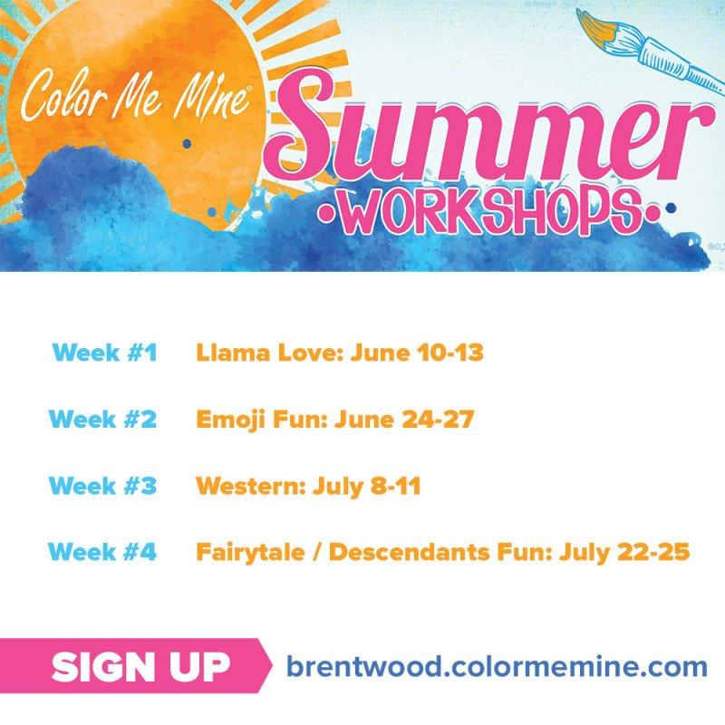 Summer Workshops at Color Me Mine