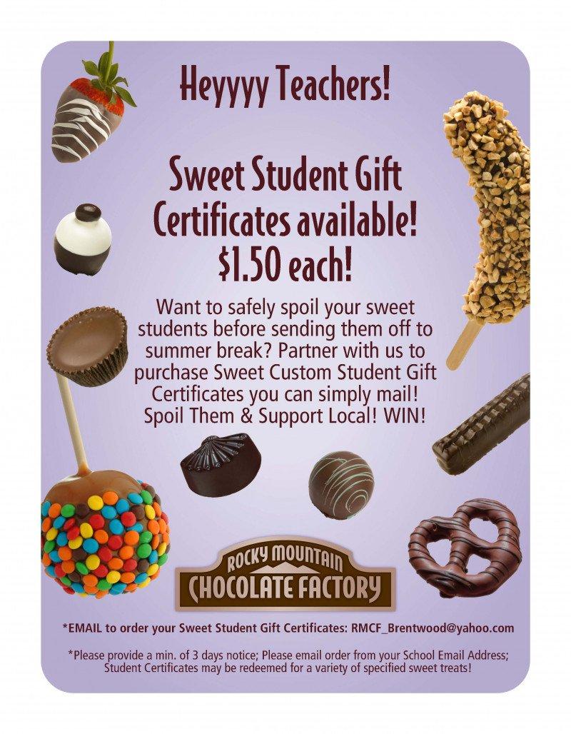 Sweet Student Certificates!
