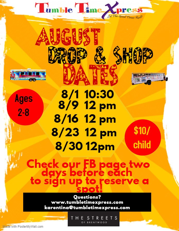 Tumble Time Xpress August Dates