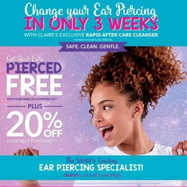 FREE Ear Piercing at Claire's