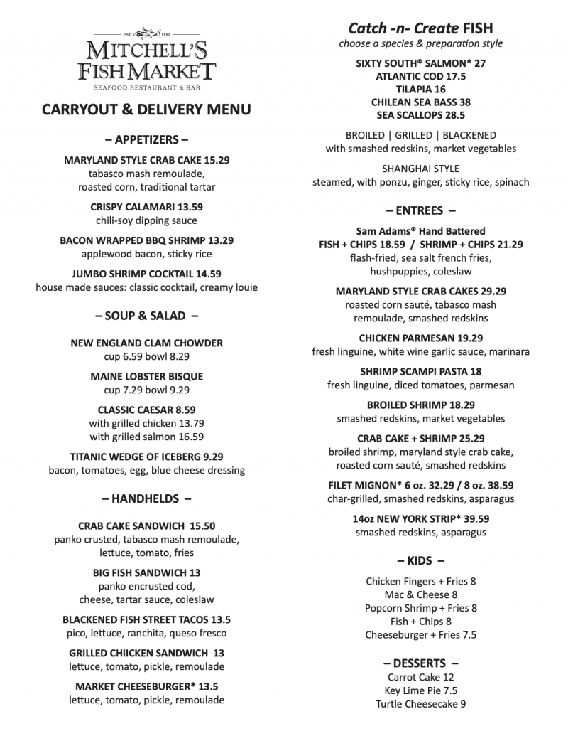 Carryout & Delivery Menu
