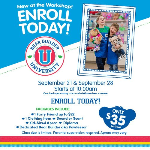 Sign up for Bear Builder University at Build-A-Bear Workshop