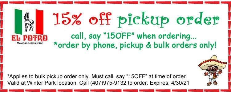15% off phone call pickup orders