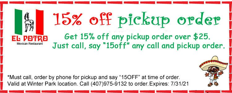 15% Off Phone Pickup/Carryout Orders