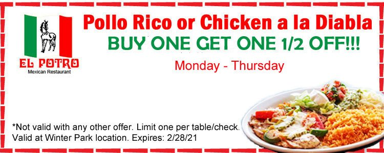 Pollo Rico or Chicken a la Diabla Special Offer