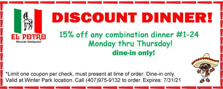 Discount Dinners Monday-Thursday Dine-in Specials!