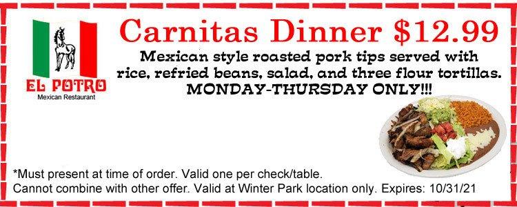 Carnitas Dinner Special @12.99