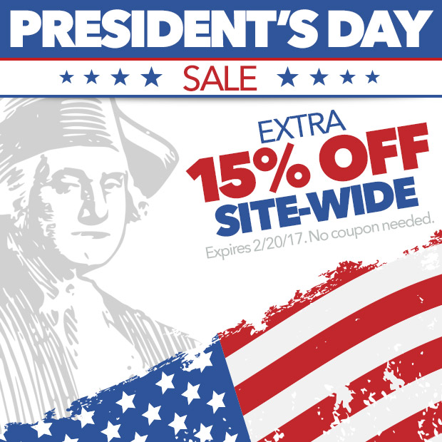 President's Day Sale. Extra 15% Off Site-Wide