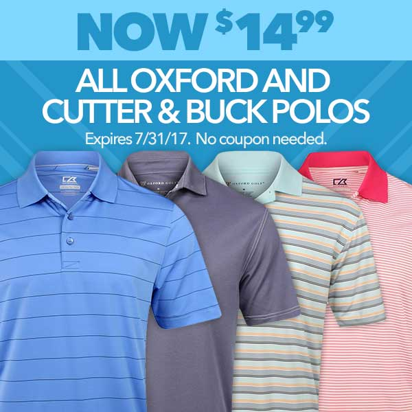 All Oxford and Cutter & Buck Polos Now $14.99