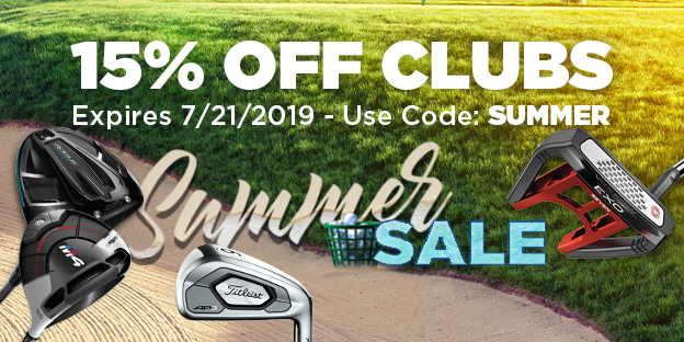 15% Off Clubs. Expires 7/21/2019. Use Code: SUMMER