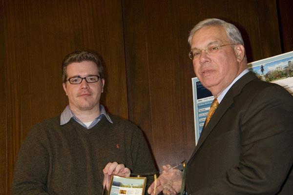 Thomas Menino Giving Brendan Stewart Award.