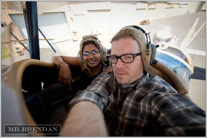 Renu & Brendan ready for our Bi-plane flight over San Francisco and Napa Valley