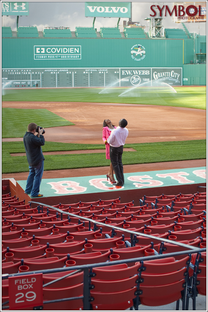 Photographing clients at Fenway...