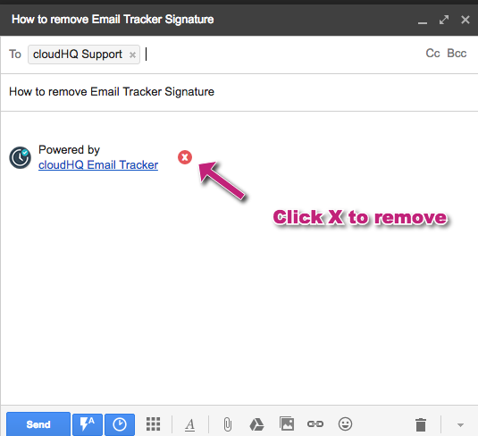"""How do I remove the """"Powered by cloudHQ Email Tracker"""