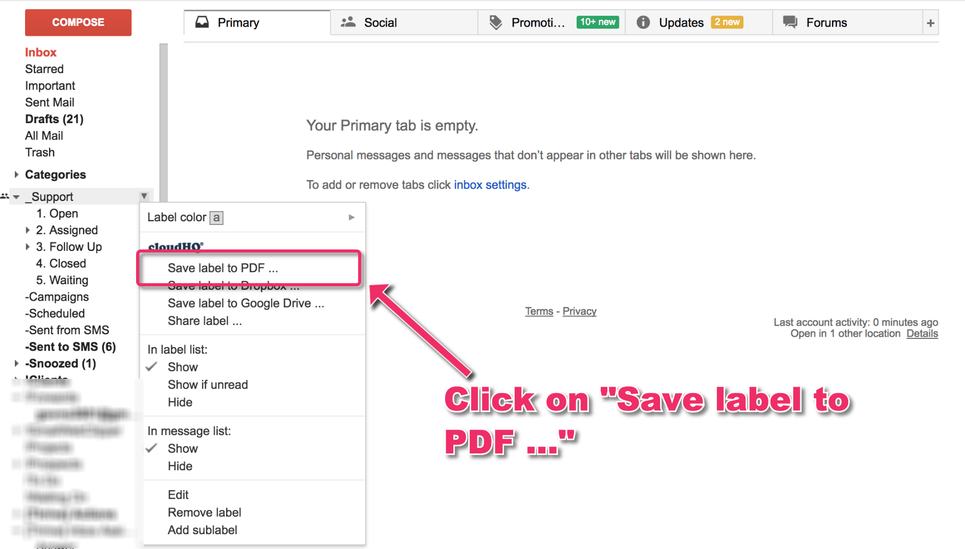 How to save to PDF all emails in a label and sublabel