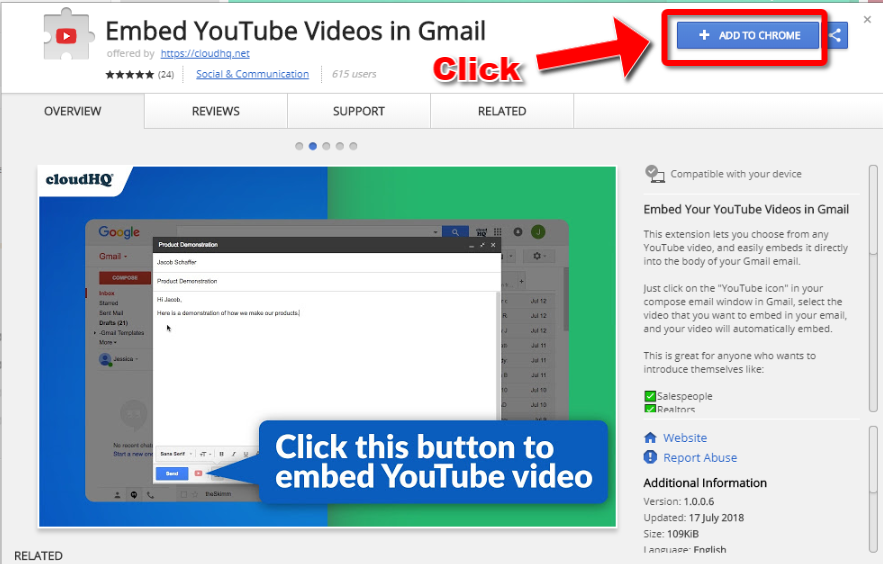 Embed YouTube Chrome Store