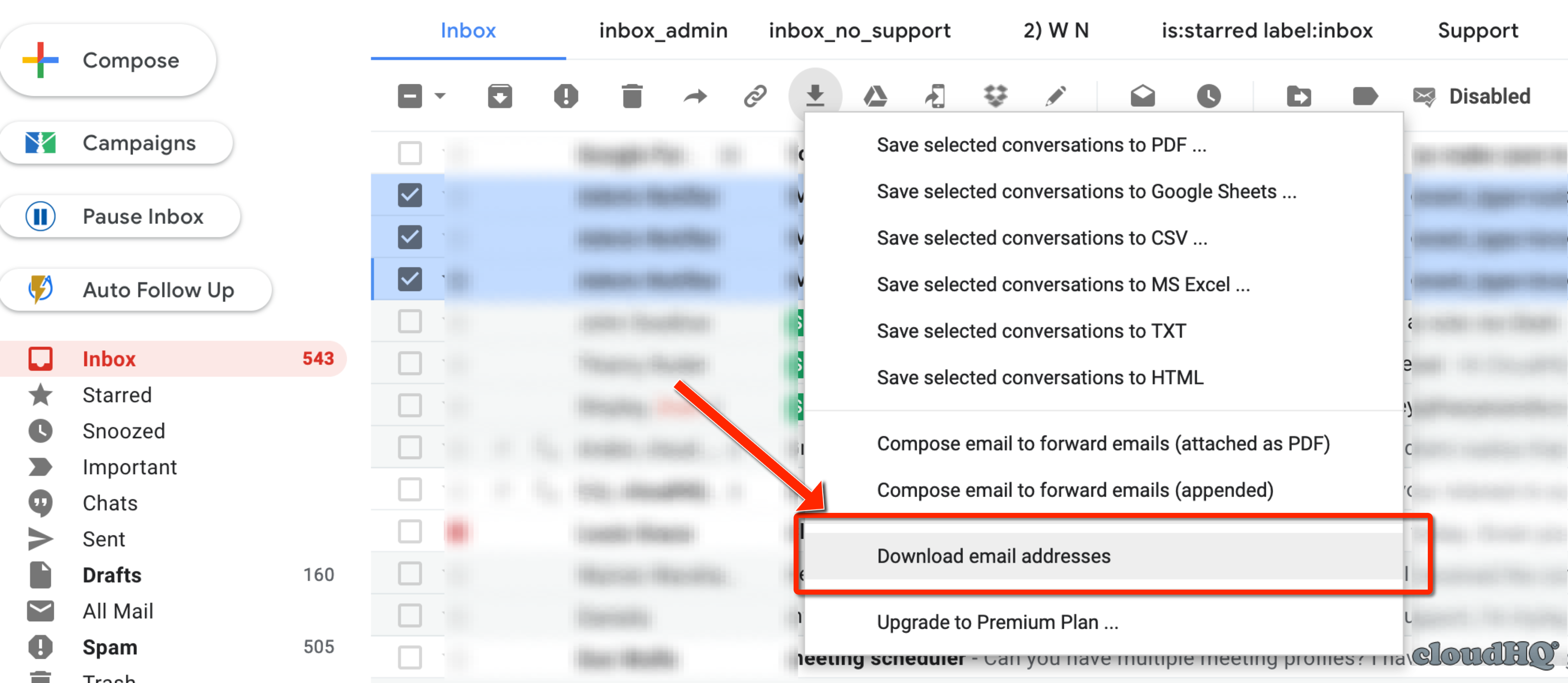 download email list from gmail